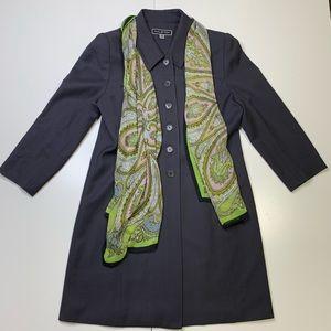 Halston vintage wool split back long blazer / coat